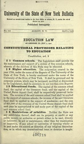 Education law, as amended to July 1, 1920 …