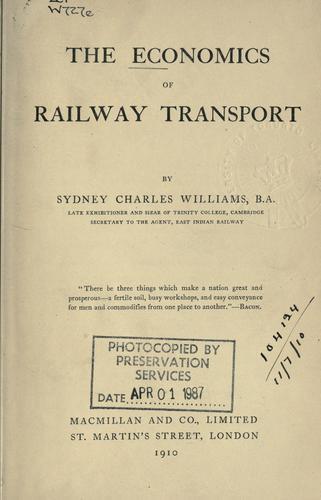 Download The economics of railway transport