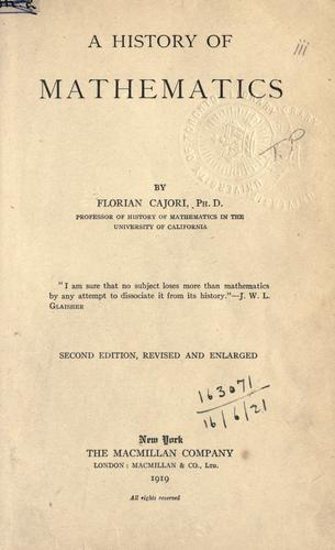 A history of mathematics.