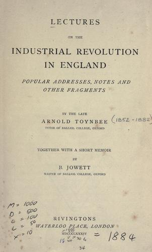 Download Lectures on the industrial revolution in England