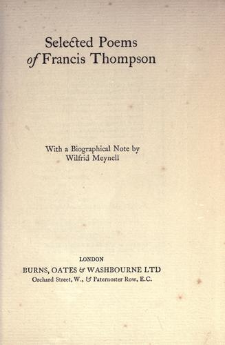 Selected poems of Francis Thompson by Thompson, Francis
