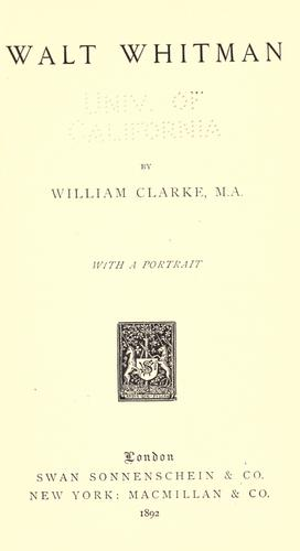 Walt Whitman by Clarke, William