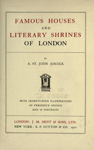 Download Famous houses and literary shrines of London