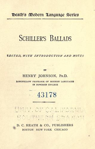 Download Schiller's ballads.