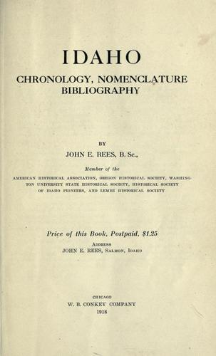 Download Idaho chronology, nomenclature, bibliography