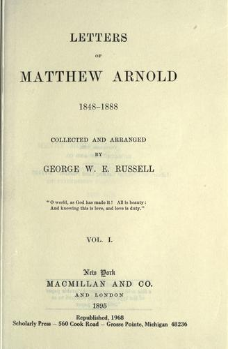 Download Letters of Matthew Arnold, 1848-1888