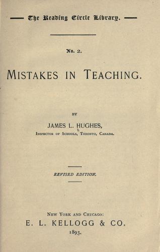 Mistakes in teaching.