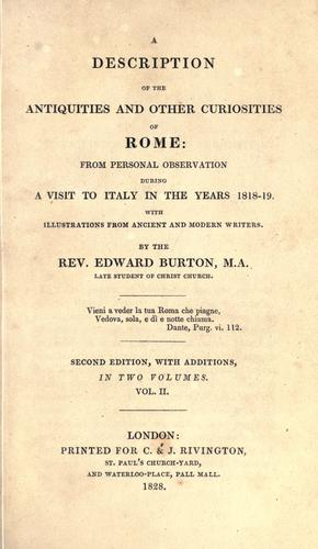A description of the antiquities and other curiosities of Rome