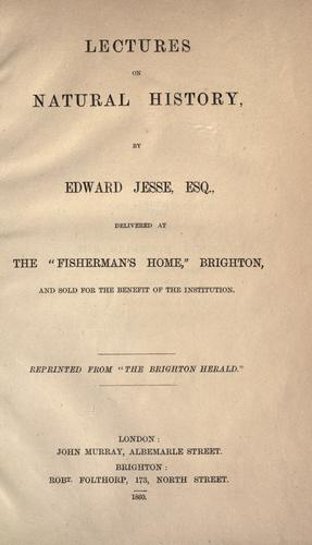 Lectures on natural history by Edward Jesse