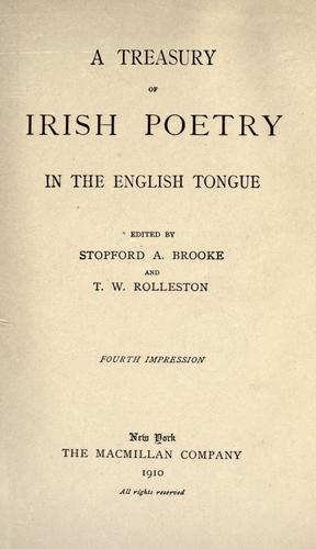 Download A treasury of Irish poetry in the English tongue