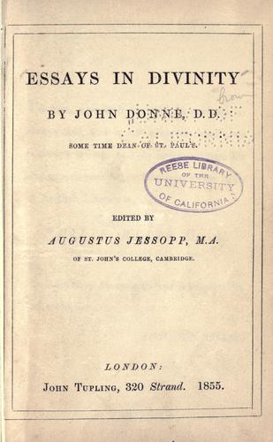 Download Essays in divinity
