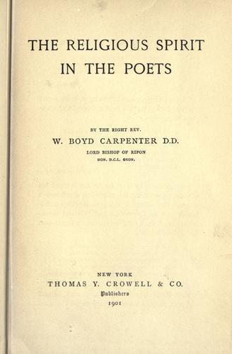 The religious spirit in the poets