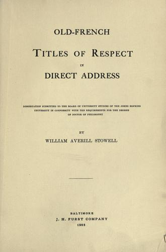 Old-French titles of respect in direct address.