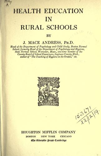 Download Health education in rural schools.