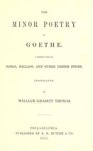 Download The minor poetry of Goethe