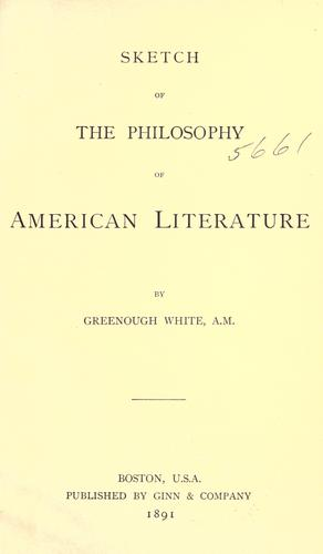 Download Sketch of the philosophy of American literature