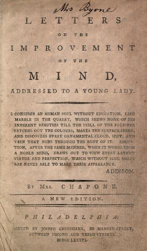 Letters on the improvement of the mind by Chapone Mrs.