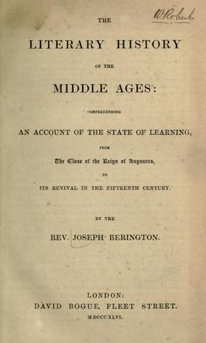 The literary history of the middle ages