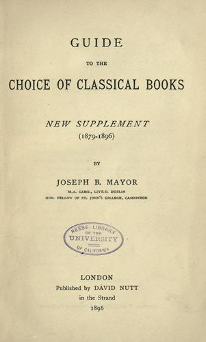 Download Guide to the choice of classical books.