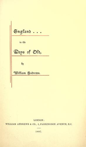 England in the days of old.