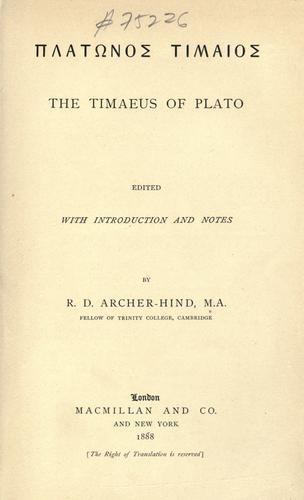 The Timaeus of Plato