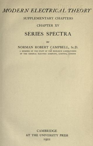 Modern electrical theory by Norman Robert Campbell