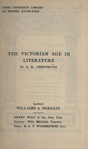 Download The Victorian age in literature.