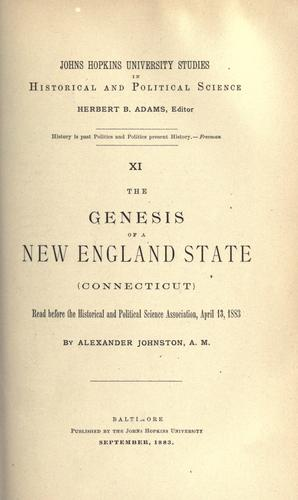 The genesis of a New England state (Connecticut)