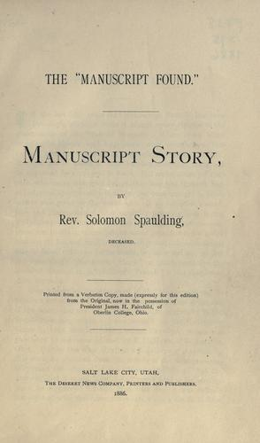 """The """"manuscript found."""""""