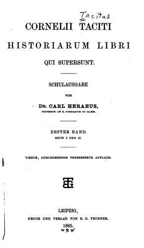 Cornelii Taciti Historiarum Libri qui Supersunt