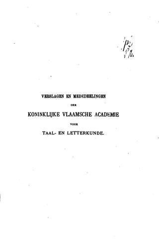 Verslagen en mededelingen van de Koninklijke Vlaamse Academie voor Taal- en …