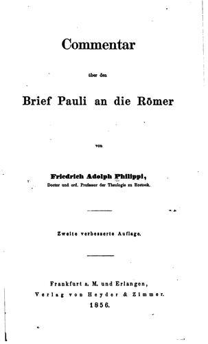 Commentar über den Brief Pauli an die Römer