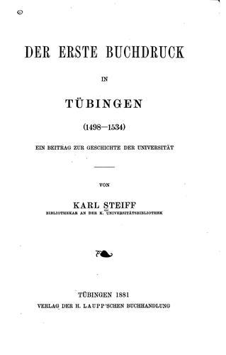 Der erste Buchdruck in Tübingen (1498-1534).