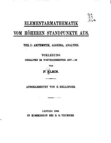 Elementarmathematik vom höheren Standpunkte aus