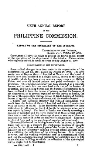 Report of the Military Governor of the Philippine Islands on Civil Affairs