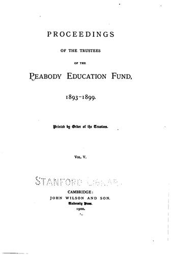 Proceedings of the Trustees of the Peabody Education Fund …