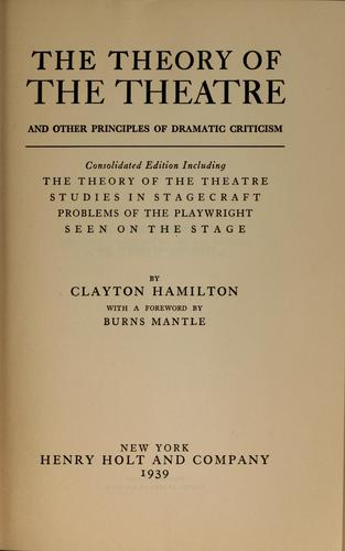 Download The theory of the theatre and other principles of dramatic criticism