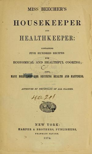 Download Miss Beecher's housekeeper and healthkeeper