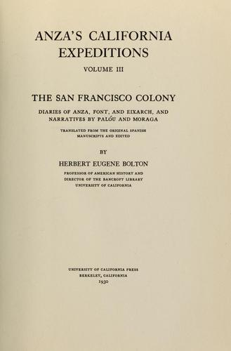 Download Anza's California expeditions, Vol. 3