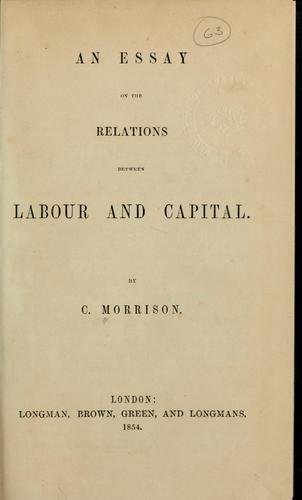 An essay on the relations between labour and capital.