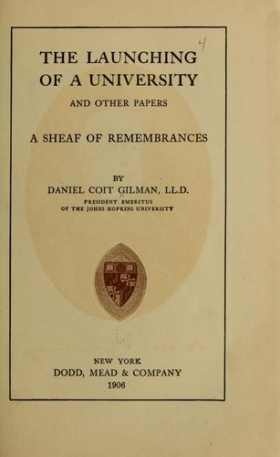 The launching of a university, and other papers