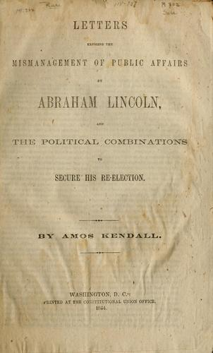 Download Letters exposing the mismanagement of public affairs by Abraham Lincoln