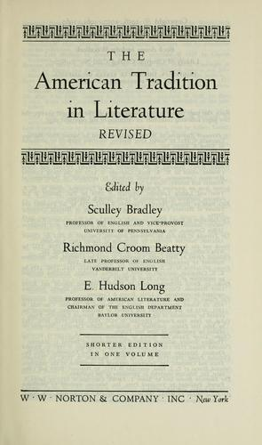 Download The American tradition in literature