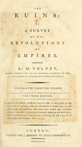 The ruins, or, A survey of the revolutions of empires