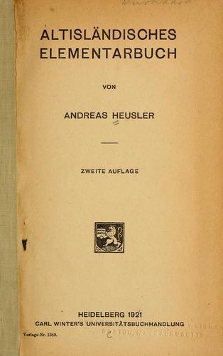 Download Altisländisches elementarbuch