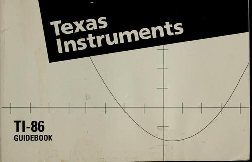 TI-86 graphing calculator guidebook by