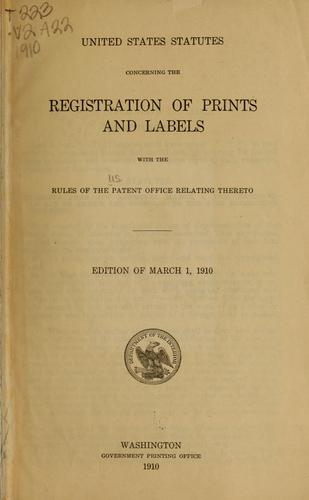 Download United States statutes concerning the registration of prints and labels