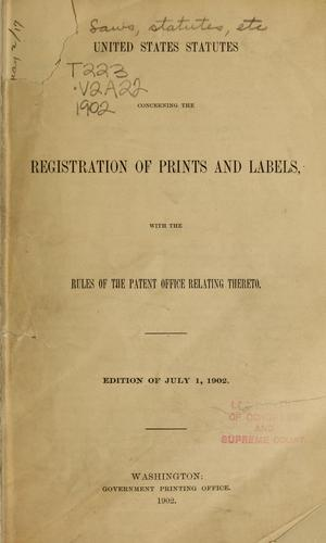 Download United States statutes, concerning the registration of prints and labels