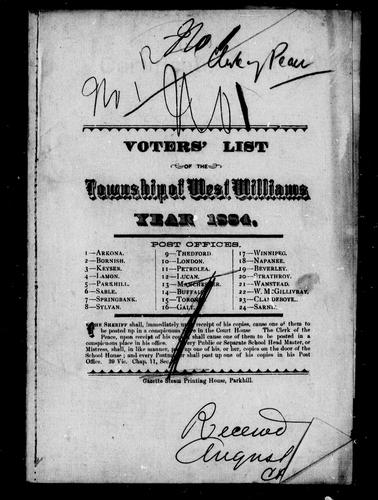 Voters' list of the township of West Williams by West Williams (Ont.)