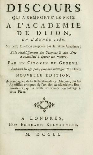 Download Discours qui a remporte' le prix a l'Academie de Dijon, en l'année 1750